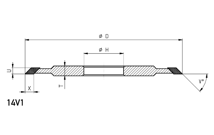 14V1 fluting and gashing wheel dimensions