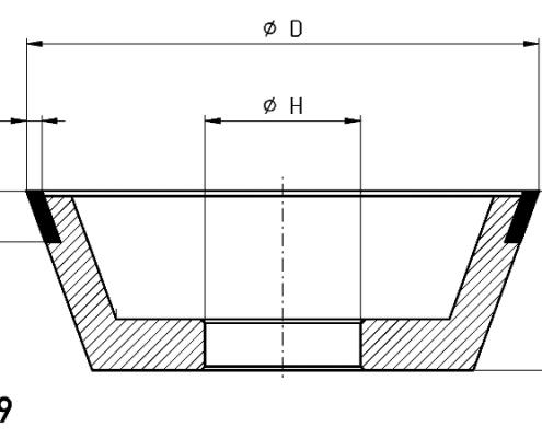 11V9 grinding wheel dimensions