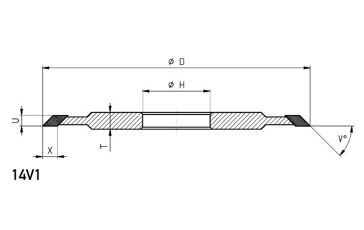 14V1 fluting and gashing wheel dimensions
